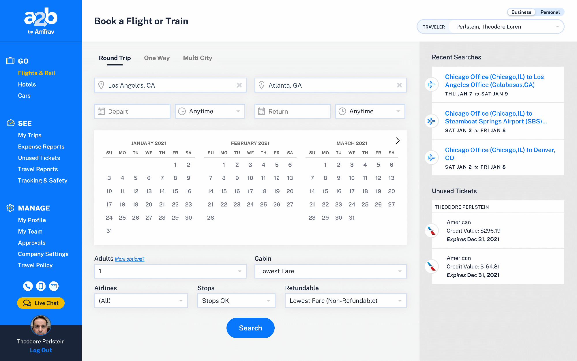 Flight Search Form
