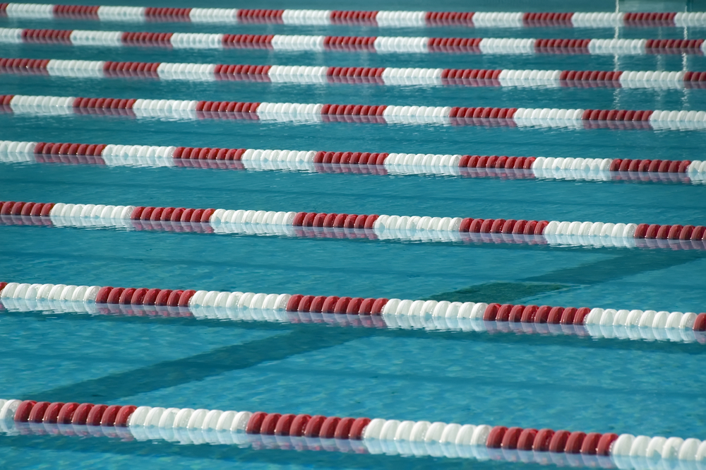 Lane ropes in outdoor swimming pool