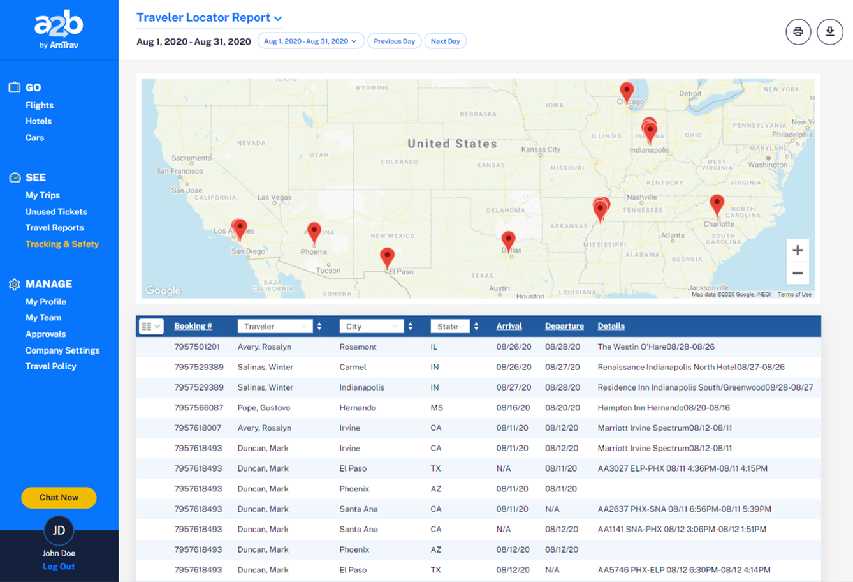 Tracking Safety - Traveler Locator - desktop